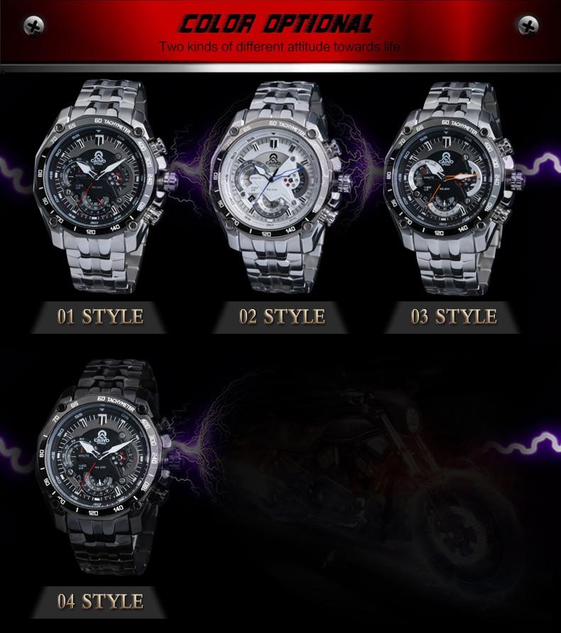 CAINO Мужские Спортивные Часы Хронограф Дата Япония Двигаться не Водонепроницаемый 100 м Гонка Часы Мужские Кварцевые Полная Сталь Бизнес Наручные Часы