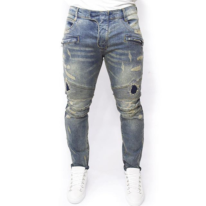 Plus Size 2016 New Men Brand Clothing Casual Mens Jeans Skinny Slim Biker Jeans Denim Long Pants ripped jeans homme(China (Mainland))