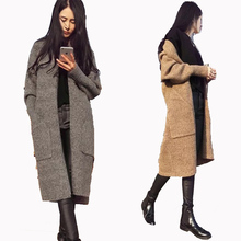 Buy Thick sweater cardigan women's autumn 2017 autumn winter sweater outerwear medium-long loose sweater for $16.12 in AliExpress store