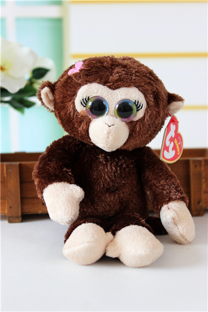 1Pcs L-22cm TY Big Eyes Brown Monkey With Flower Plush Toy Gift For Girl<br><br>Aliexpress