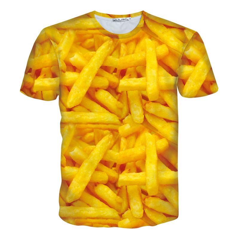 Hot Sale 3d t shirt print French fries Unisex men/women brand style tops tees O-neck short sleeve casual T-shirt(China (Mainland))