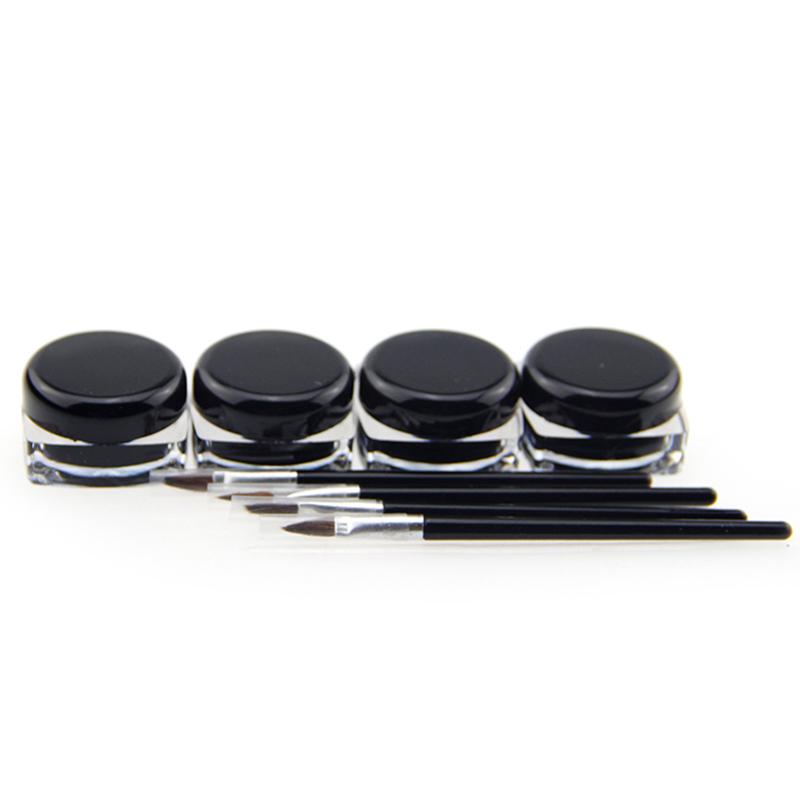 1 Pcs Cosmetic Waterproof Eye Liner Pencil Makeup Black Liquid Eyeliner Shadow Gel Make Up With Brush