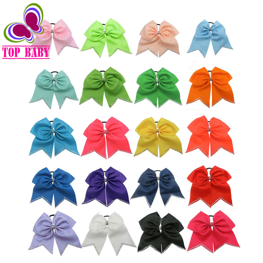 "20Colors 8"" Top Rhinestone Cheer Bow Hair Accessories Elastic Lovely Girls"