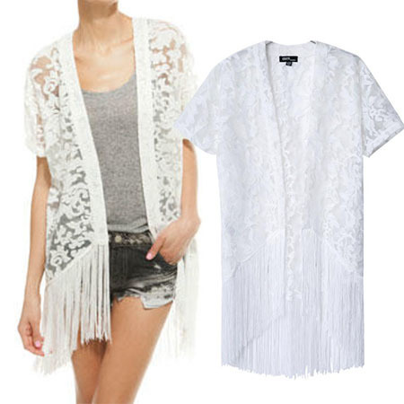 Wheat product library P2-6353 summer new European and American short-sleeved cardigan solid color lace fringed jacket(China (Mainland))
