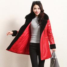 Winter Women's Quality Genuine Fox Fur Leather Coat Female Medium-long Leather Clothing(China (Mainland))