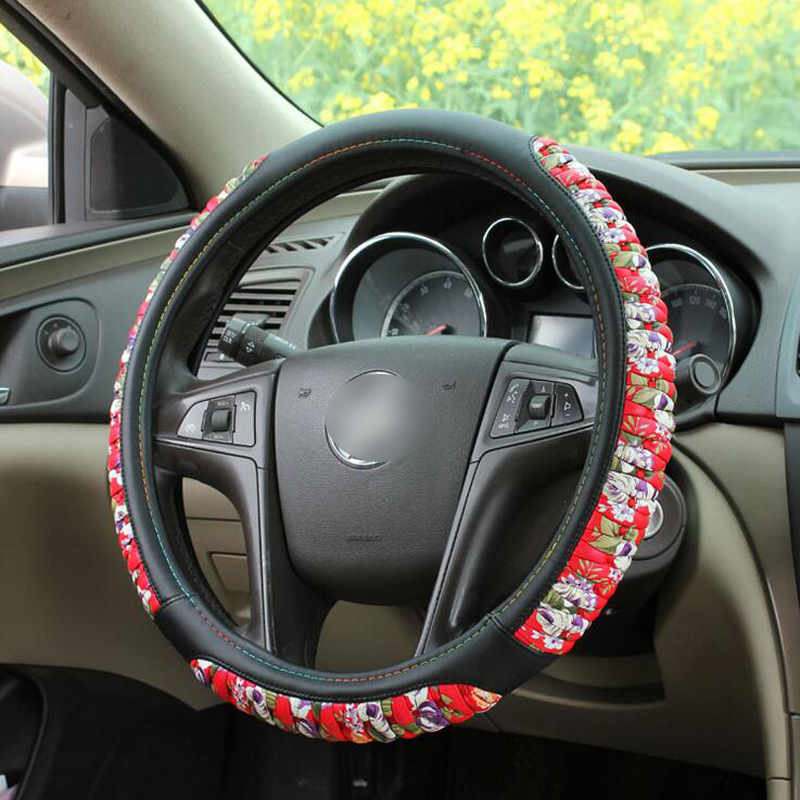 The Set Of Four Seasons General Color High-grade Fashion Women Girls Car Steering Wheel Cover Car Styling Interior Accessories(China (Mainland))