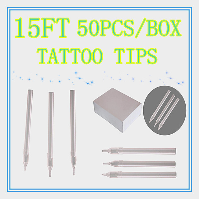 Box Of 50 Flat Size 15FT white Disposable Long Tattoo Tips Nozzle Supply HLDT-A-15FT