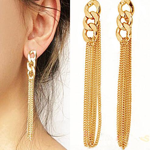 2015 Newest HOT !!! Retro Women Long Chain Earrings Fancy Dress Golden Tassel Chain Ear For Women High Quality E671(China (Mainland))