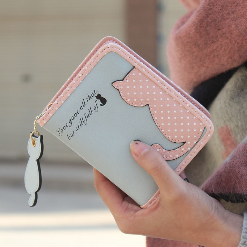 HTB19uOfMpXXXXcUXpXXq6xXFXXXf - Fashion Small Wallet Women Short Luxury Brand Cute Female Purse PU Leather Cat Design Girls Lady Zipper Wallets Card Holder Bags