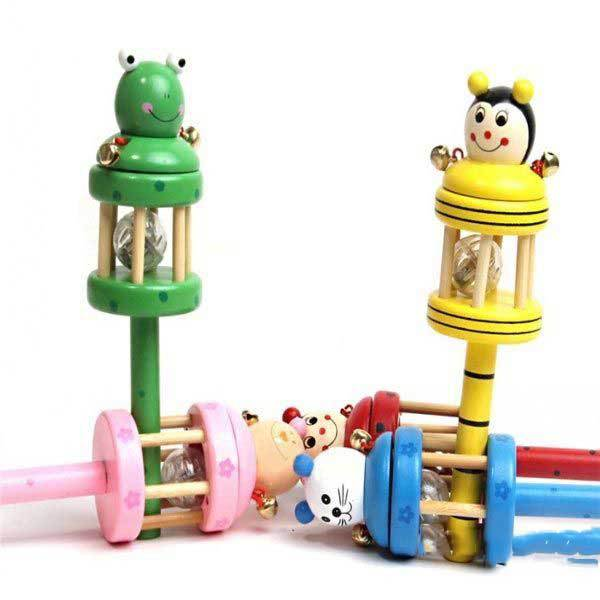 BidLook Animal Wooden Rattle Jingle Hand Bell Stick Shaker Flash Baby(China (Mainland))
