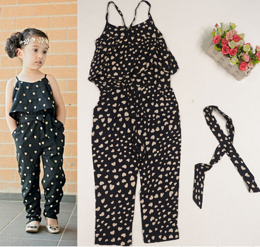 2015 girls Rompers clothes kids Girls harness heart-shaped piece clothing set kids summer Jumpsuit clothes(China (Mainland))