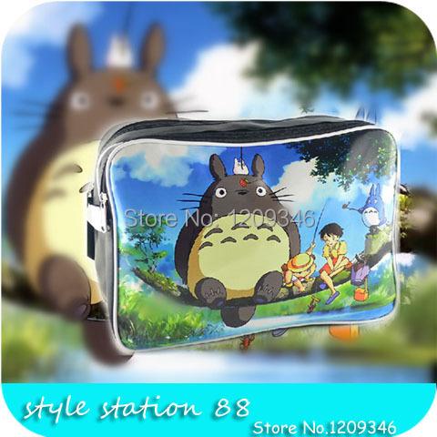Large capacity 2014 new Anime printed Totoro waterproof pu fashion unisex school casual bag sport bag men messenger bags(China (Mainland))