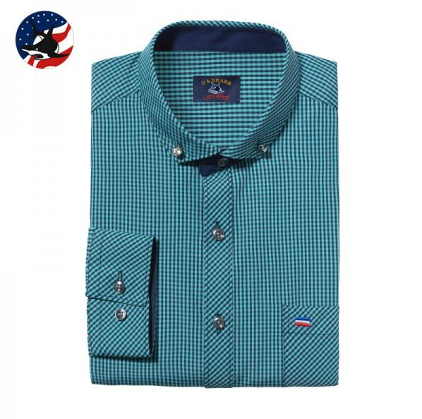 Brand U- shark business casual shirt unique collar design men's classic fashion stripes & plaid long-sleeved shirt, men's shirt(China (Mainland))