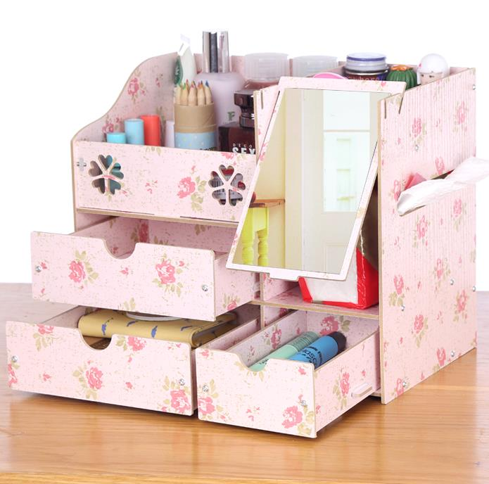 6 colors cute wooden table decor 27x18x23cm office organizer tissue box assemble sundries drawer holder storage box with mirror(China (Mainland))