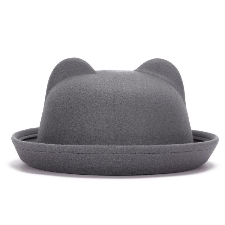 Women Cat Ear Wool Hat Vintage Brim Bowler Hat Cap