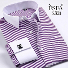 2016 hot Brand Men's Striped Formal men wedding dress shirt brand long sleeve shirts men camisa social masculina