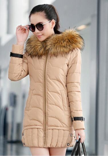 New Fashion Women Big yards Down jacket Winter Medium long Heavy hair collar Hooded Slim Pure color High-grade Down Coat AA8278(China (Mainland))