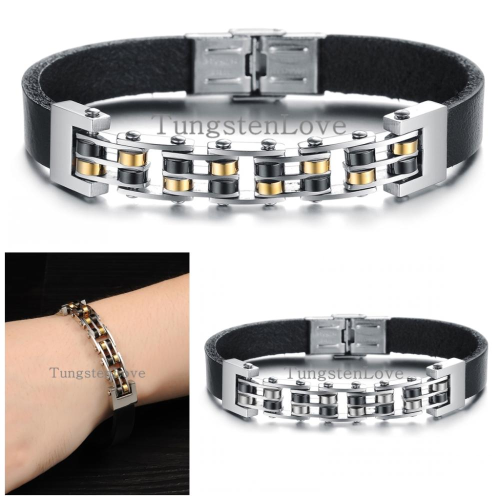 22 cm Cool Stainless Steel Black leather bracelets for Men Charm Bracelets Bangles Male Punk Jewelry Gifts 2 colors(China (Mainland))