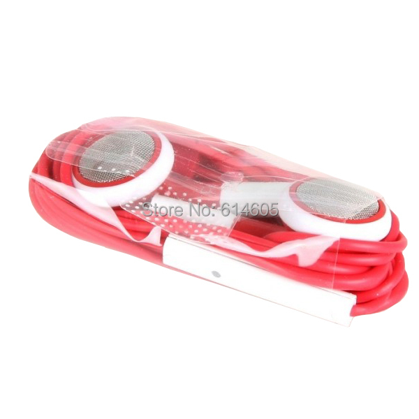 Red 3.5mm Earphone Headset Mic for iPhone 4 4S 3G 3GS iPod Touch Nano(China (Mainland))
