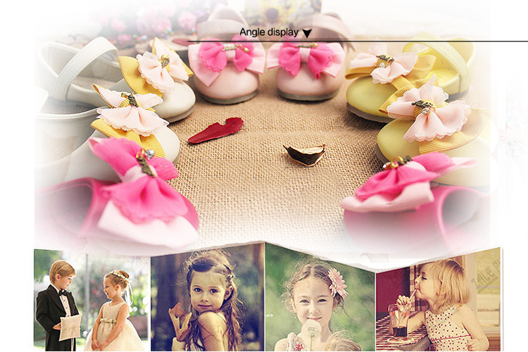 2015 Sweet Children'S Shoes Kids Girls Princess Sheos For Dress With A Pretty Bowtie Flats Shoes Leather Sandals Girls(China (Mainland))