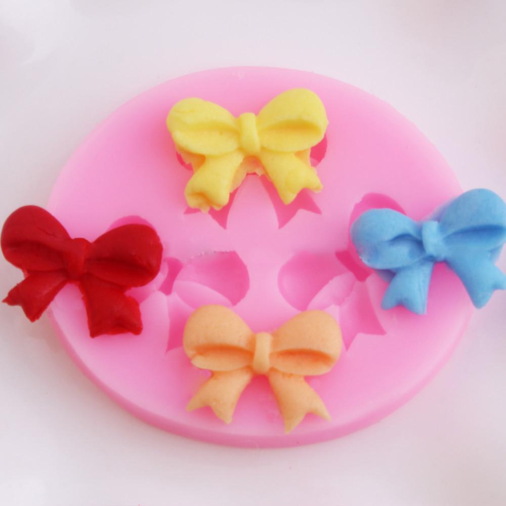 The new DIY baking tools of silicone rubber mold Fondant Mold chocolate cake mold bowknot(China (Mainland))
