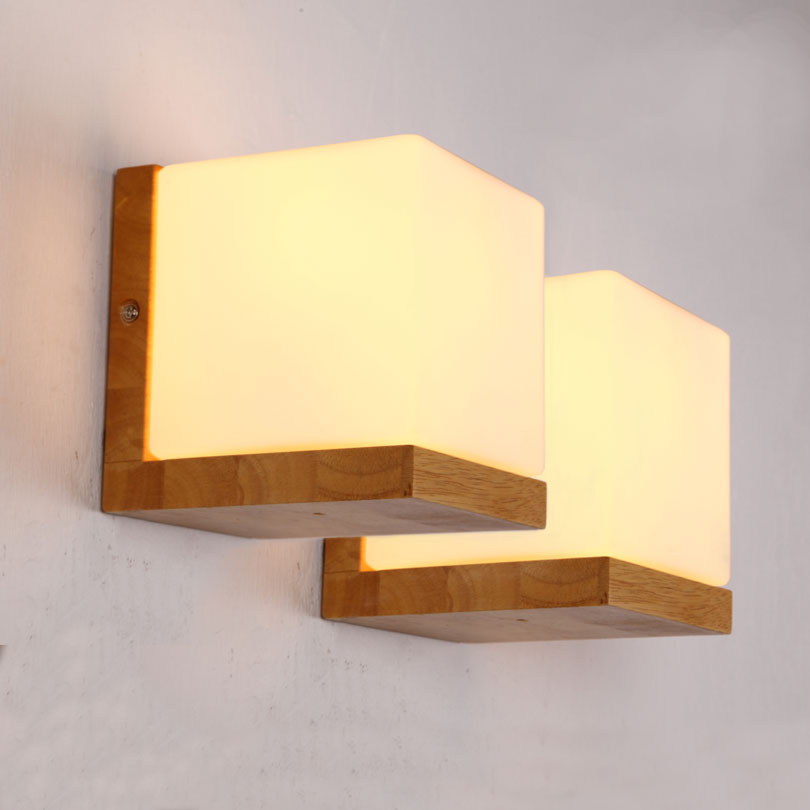 How To Make Wall Lamps At Home : Frosted Glass real Japanese Oak Wood Wall Lights Minilism Solid Wood Wall Lamp Home Bedroom ...