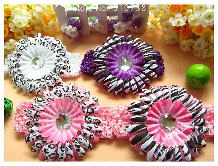 8 Color(4inch Hair Flower + Hairpin + Knit Hair Headband) Kid's Headwear Hair Accessories 120pcs(China (Mainland))
