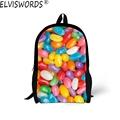ELVISWORDS Infantil 2017 Kids Schoolbags Candy Prints Children School Bags for Teenager Student Girls Women Shoulder