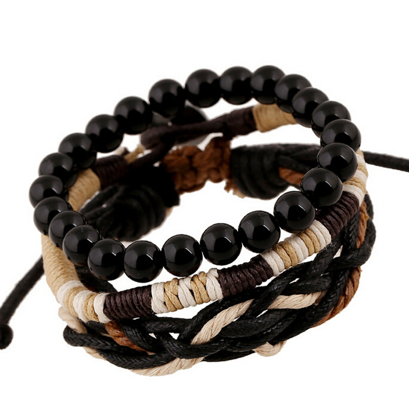Hand Woven Mens Wood Beads Bracelets 2015 Wax Rope Braided Male Multilayer Bracelets Bangles Trendy Summer style Jewelry Gift(China (Mainland))
