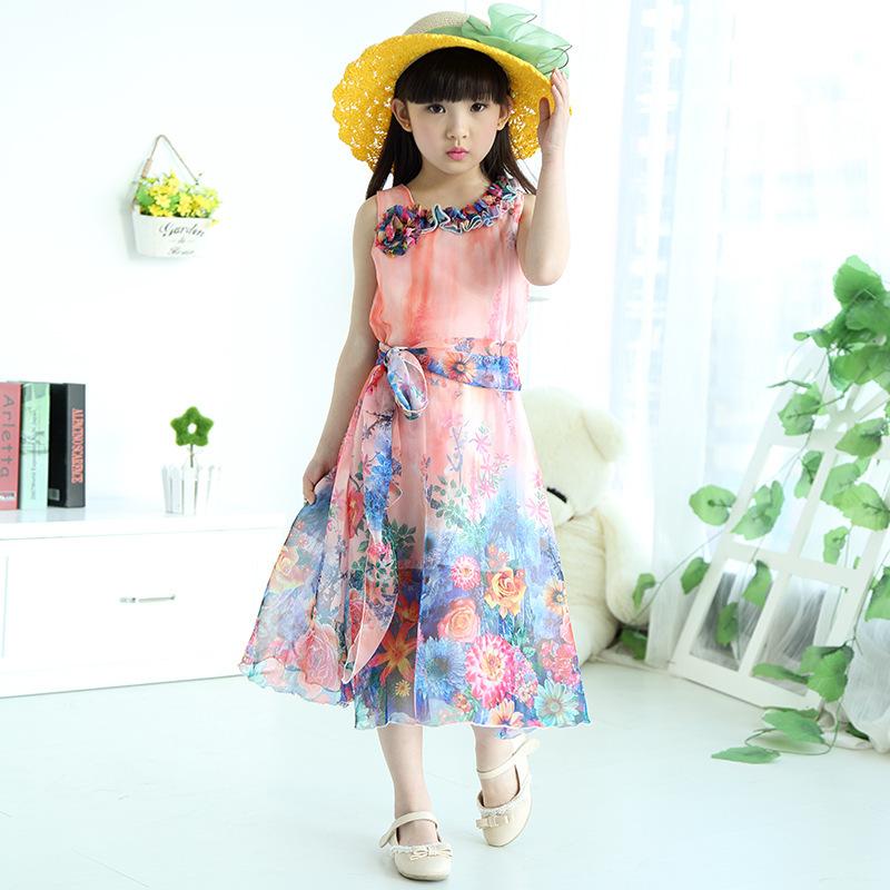 Retail Wholesale flower girl beach dresses 4 To 15y Girls Bohemian Girls Summer Princess Dress Chiffon Dresses(China (Mainland))