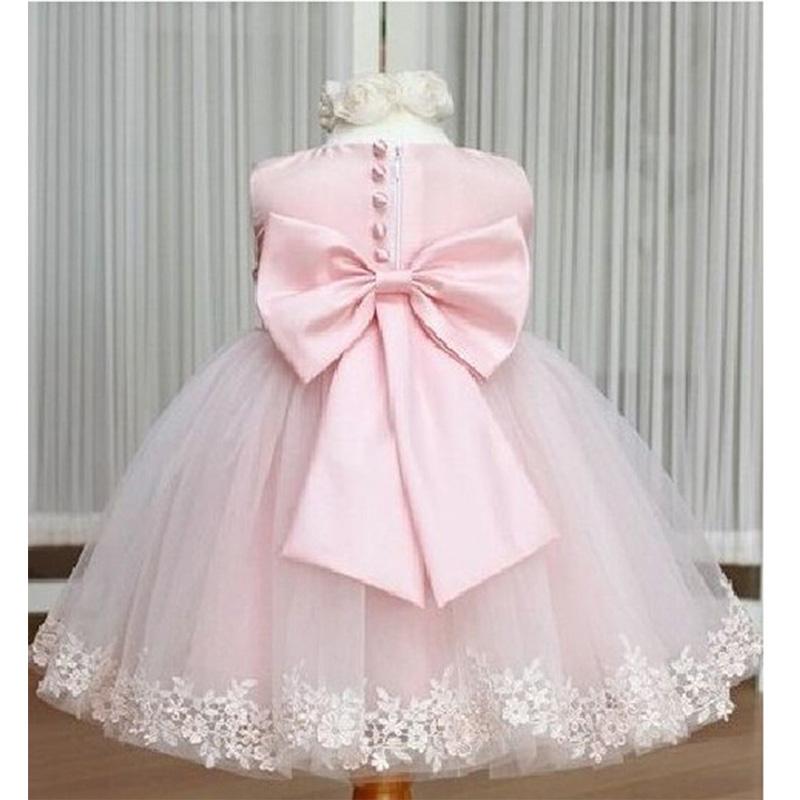 White pink princess big bowtie dress for girl sweet tutu dresses girls