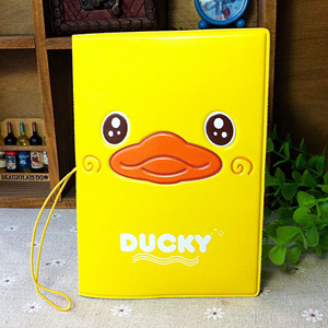 2015 Fashion PU&amp;PVC passport Cover , ID Credit Card Cover business Card -ID Holders for travel - yellow duck pattern<br><br>Aliexpress