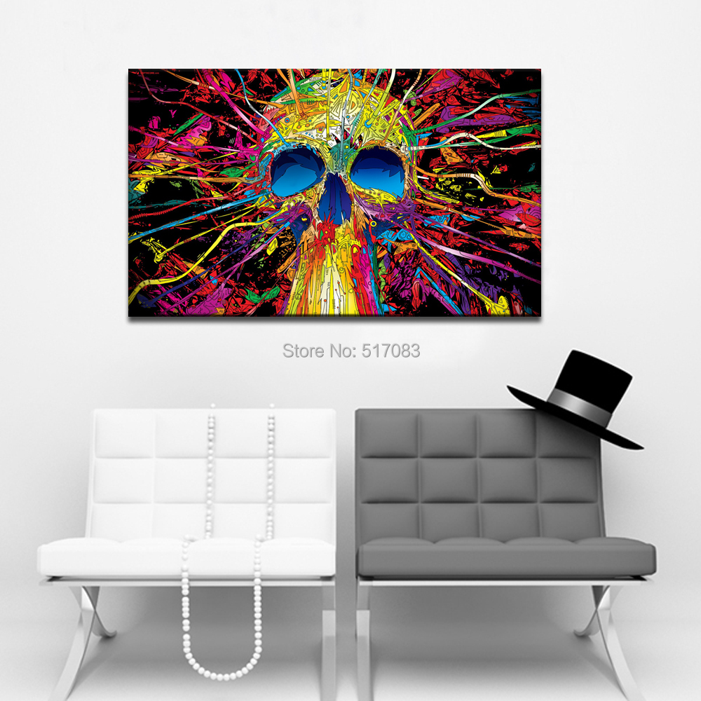 product Abstract Skull Modern Canvas Print24x40inches Water-proof Cool Framed Home DecorGallery Wrapped(60x100cm)