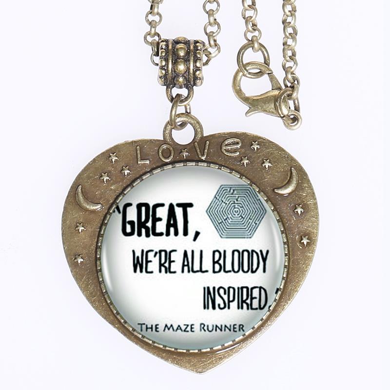 1pcs/lot Maze Runner Logo Pendant Necklace Heart Hot Sale Vintage Bronze Necklace Women Jewelry Friendship Gift(China (Mainland))