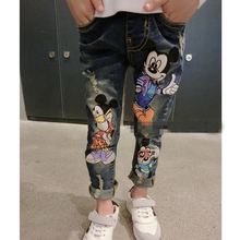 2 8Yrs Children Pants girls jeans Spring Baby Girl Cartoon Mouse Jeans Trousers Fashion Children Clothing