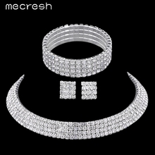 Mecresh Crystal Bridal Jewelry Sets Silver Plated Rhinestone Necklace Wedding Engagement Jewelry Sets for Women TL299+SL116(China (Mainland))