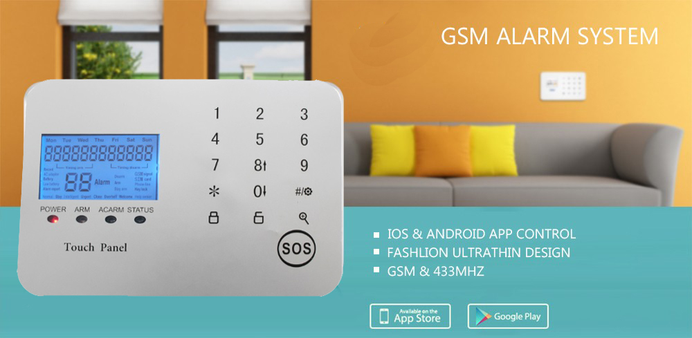 text message home alarm system PSTN GSM with smartphone app