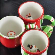 Free Shipping Creative Cute Snowman Ceramic Mug Hand painted Ceramic Cup Holiday Mug Lovely Christmas Cup