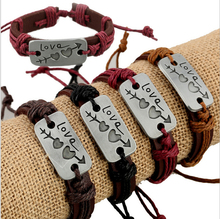 12pcs/lot Free Shipping Mix Styles An arrow Through A Heart Braided Leather Bracelet For Men Women Valentine's day gifts(China (Mainland))