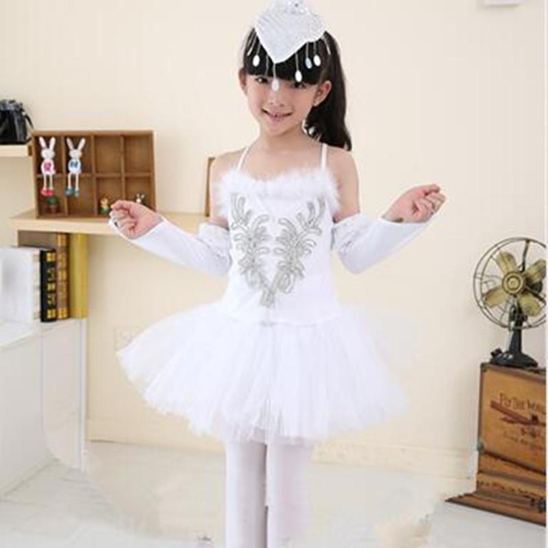 Luxury Phoenix Feather Sequined Girls Costume White Feather Angel Dance Dress for Kids Children Elegant Swan Dance Dress(China (Mainland))