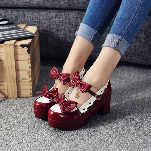 Женщин комфортно платформы вокруг пальца лолита обувь мило боути коренастый пятки ...