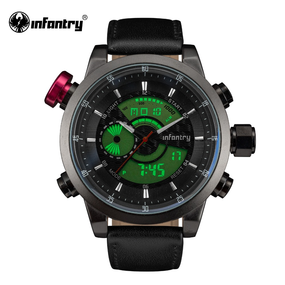 INFANTRY Mens Quartz Watches LCD Digital WristwatchTop Brand Luxury Sports Military Male Clock Leather Strap Relogio Masculino<br><br>Aliexpress