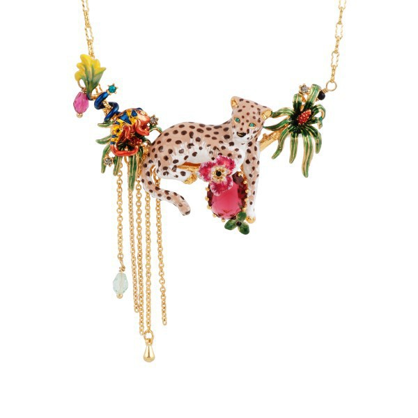Timeless Wonder ENAMELED PANTHER AND TROPICAL LANDSCAPE NECKLACE Women Designer custome party wedding gown date fancy pop 4341(China (Mainland))