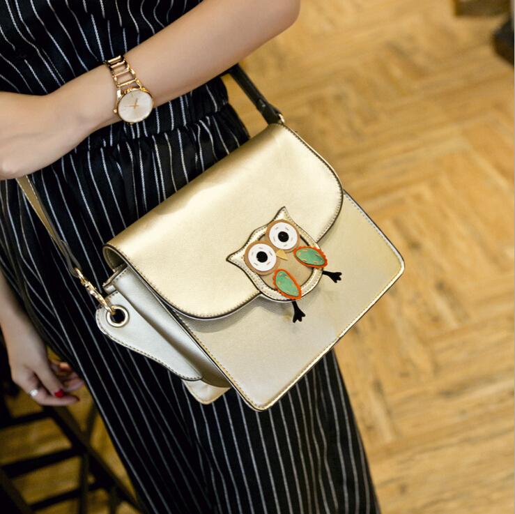 The new of plastic women bag Korean cartoon cute owl purse fashion cross shoulder messager handbags(China (Mainland))