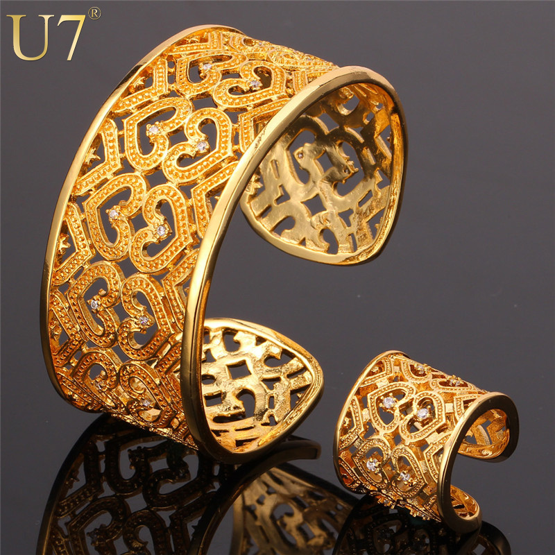 Bracelet Ring Set 2015 New Item Platinum/18K Real Gold Plated AAA Cubic Zirconia Romantic Gift For Women Heart Jewelry Sets S545