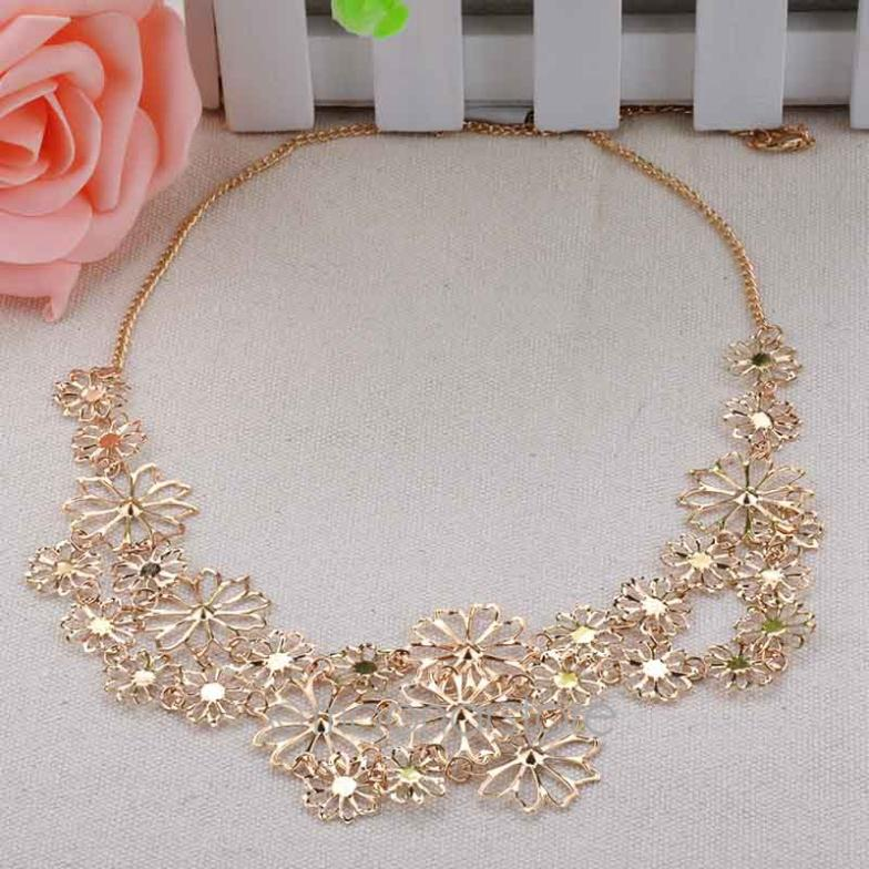 NEW Fashion Romantic Elegant Collar necklace hollow flower statement necklace for women necklaces jewelry #50(China (Mainland))