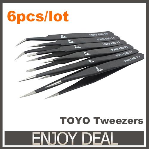 Good Quality TOYO Anti-static ESD 10-15 Tweezers Set For Soldering Rework, 6pcs/lot Free Shipping(China (Mainland))