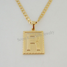 """Free Shipping/Min order 10$/ 18K YELLOW GOLD OVERLAY FILLED BRASS 24"""" CUBAN NECKLACE&LETTER R INITIAL PENDANT/Great Gift/(China (Mainland))"""