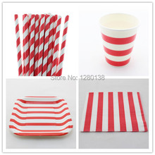 Disposable 5 Color Party Tableware Set Stripe Paper Cups, Paper Napkins, Party Supplies Striped Paper Plates, Paper Straws(China (Mainland))