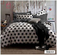 Black and white stars bedding set 4pcs bed set 100% cotton bedclothes comforter cover bedsheet bedspread pillowcases 5092(China (Mainland))